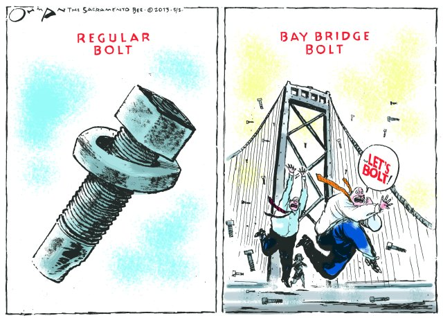 Bay Bridge bolt cartoon
