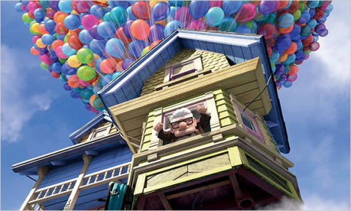 Up animated house