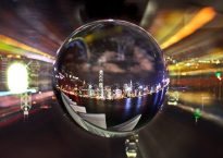 image of a city inside a crystal ball.